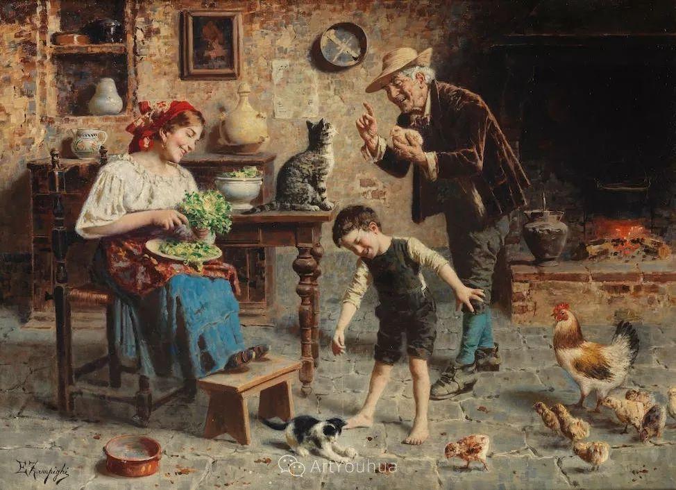 他把普通人的生活,画得如此欢乐、温馨、幸福,意大利画家Eugenio Zampighi插图6