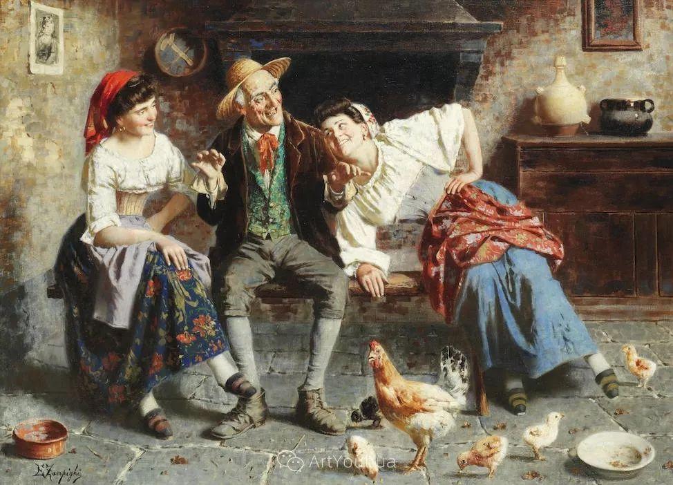 他把普通人的生活,画得如此欢乐、温馨、幸福,意大利画家Eugenio Zampighi插图7