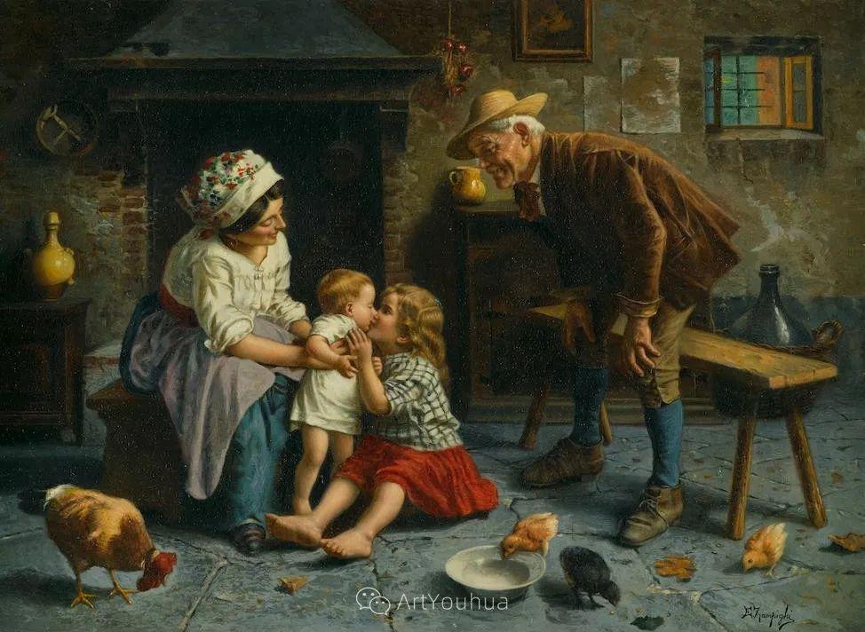 他把普通人的生活,画得如此欢乐、温馨、幸福,意大利画家Eugenio Zampighi插图8