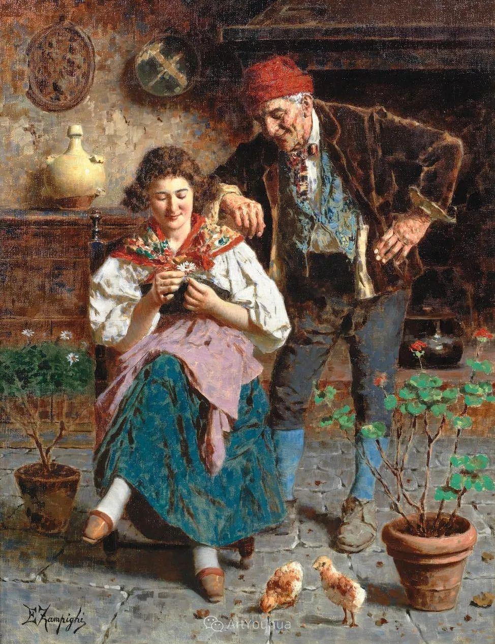 他把普通人的生活,画得如此欢乐、温馨、幸福,意大利画家Eugenio Zampighi插图10
