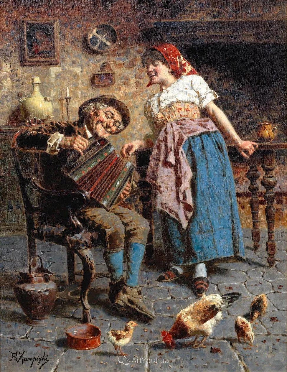 他把普通人的生活,画得如此欢乐、温馨、幸福,意大利画家Eugenio Zampighi插图11