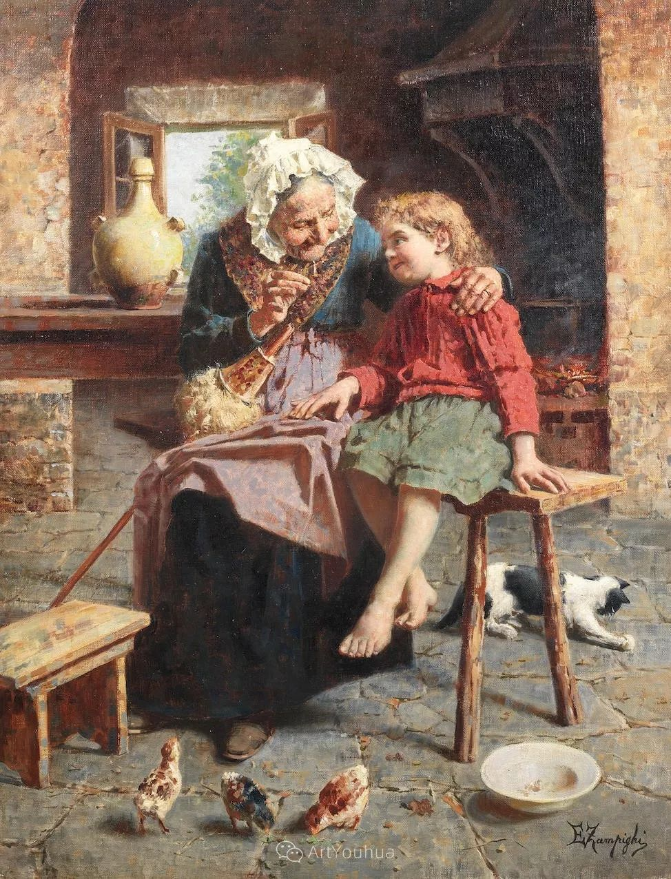 他把普通人的生活,画得如此欢乐、温馨、幸福,意大利画家Eugenio Zampighi插图12