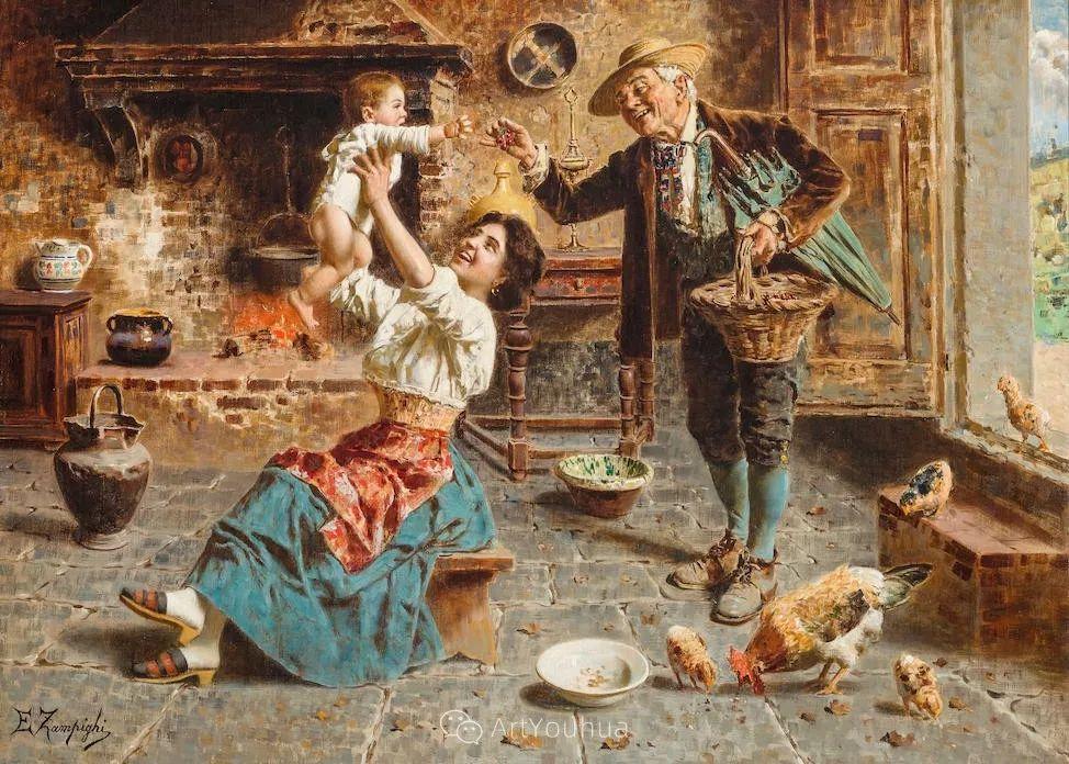 他把普通人的生活,画得如此欢乐、温馨、幸福,意大利画家Eugenio Zampighi插图13