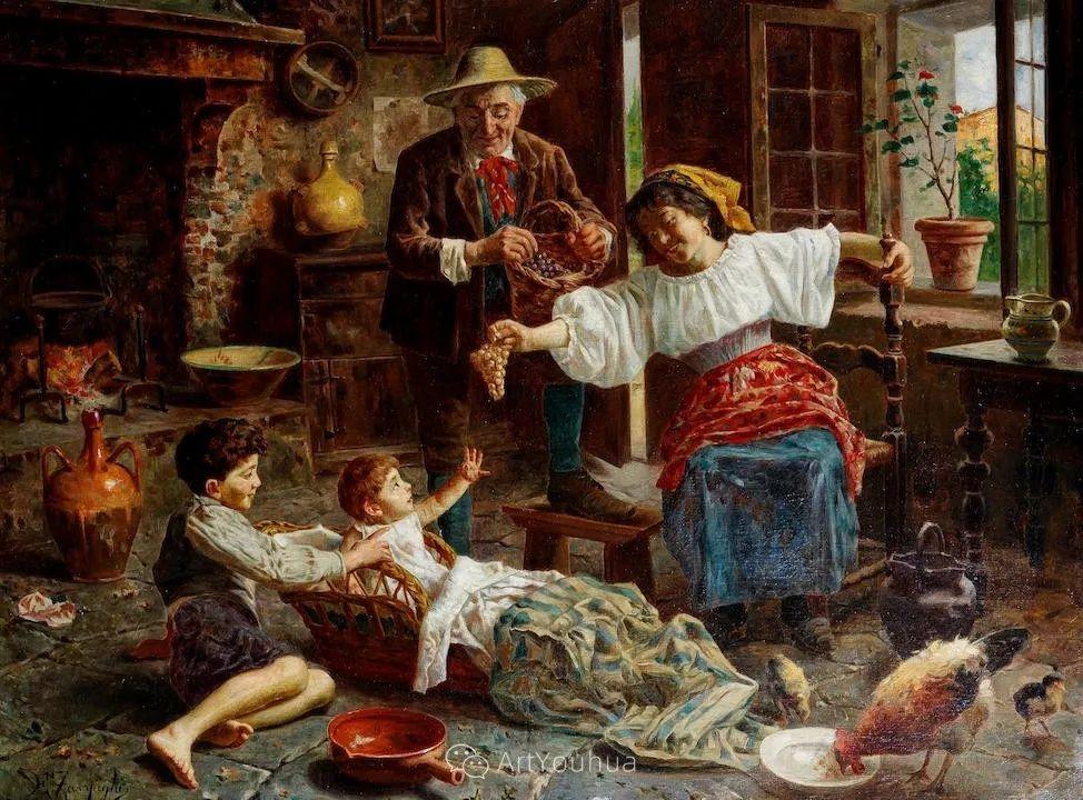 他把普通人的生活,画得如此欢乐、温馨、幸福,意大利画家Eugenio Zampighi插图14
