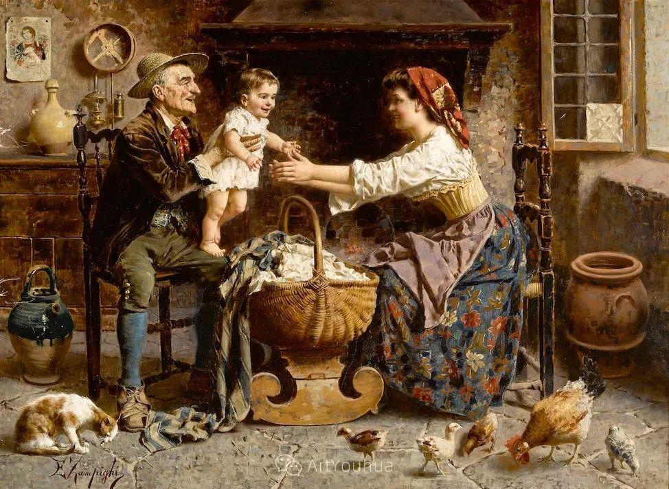他把普通人的生活,画得如此欢乐、温馨、幸福,意大利画家Eugenio Zampighi插图15
