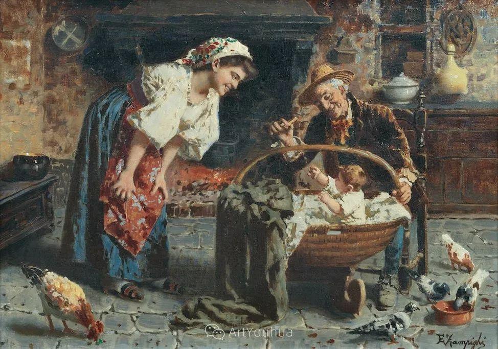 他把普通人的生活,画得如此欢乐、温馨、幸福,意大利画家Eugenio Zampighi插图16