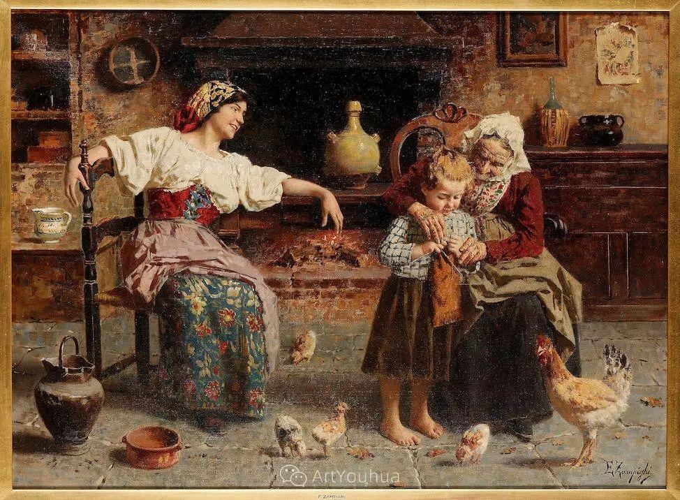 他把普通人的生活,画得如此欢乐、温馨、幸福,意大利画家Eugenio Zampighi插图17