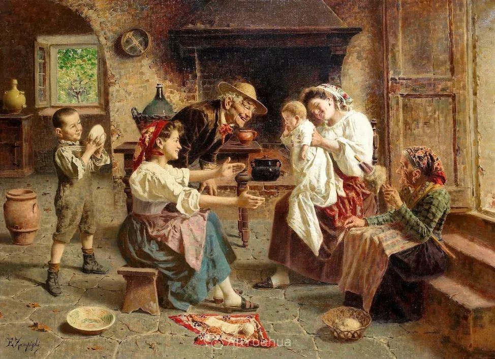 他把普通人的生活,画得如此欢乐、温馨、幸福,意大利画家Eugenio Zampighi插图18