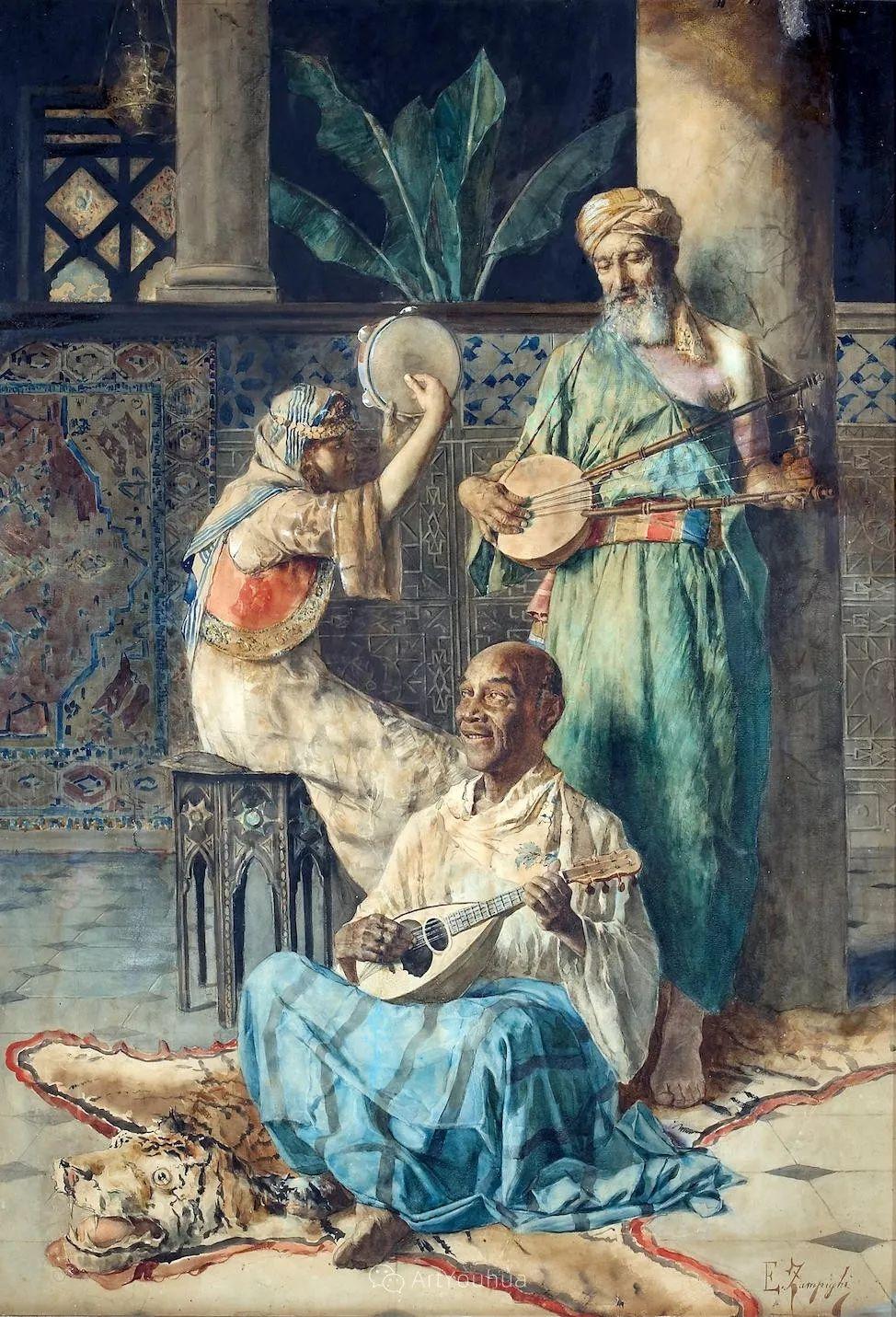 他把普通人的生活,画得如此欢乐、温馨、幸福,意大利画家Eugenio Zampighi插图19