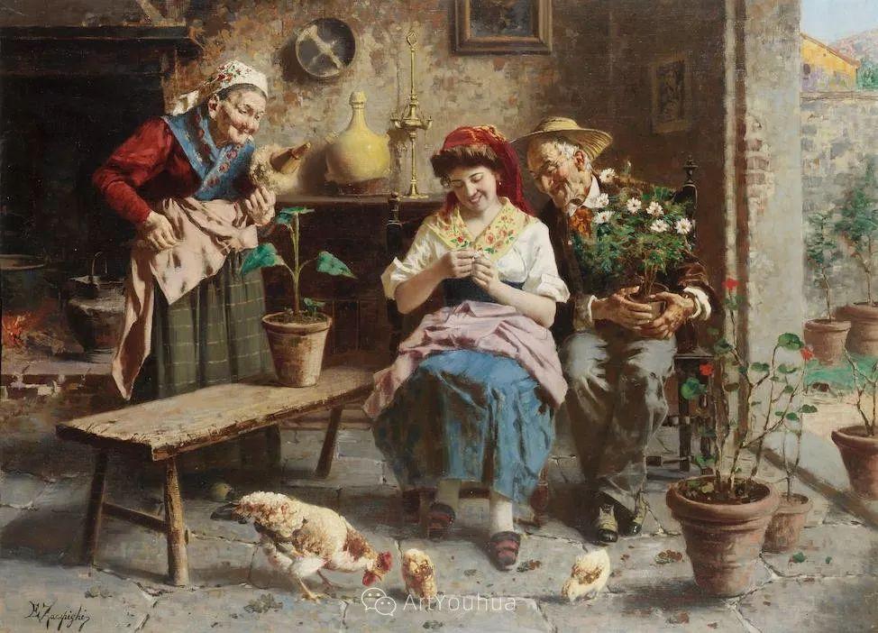 他把普通人的生活,画得如此欢乐、温馨、幸福,意大利画家Eugenio Zampighi插图20