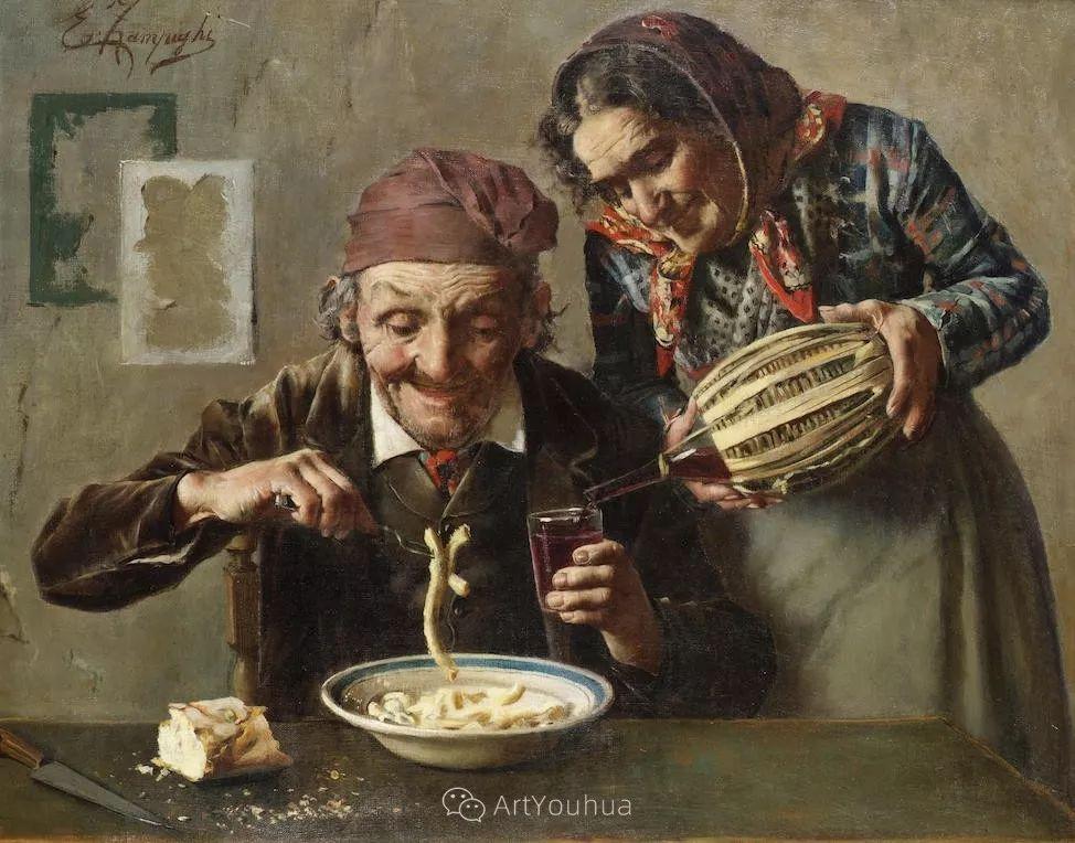 他把普通人的生活,画得如此欢乐、温馨、幸福,意大利画家Eugenio Zampighi插图21