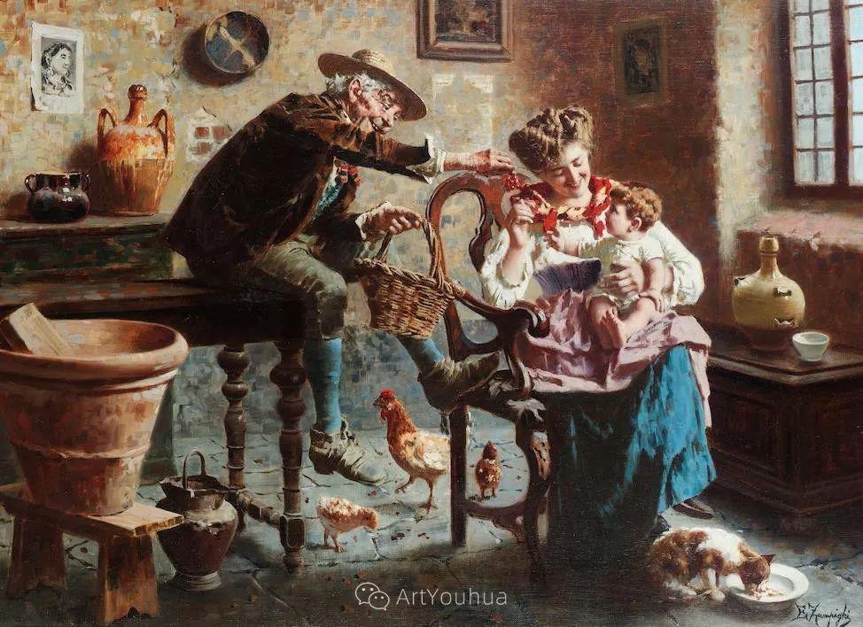 他把普通人的生活,画得如此欢乐、温馨、幸福,意大利画家Eugenio Zampighi插图22