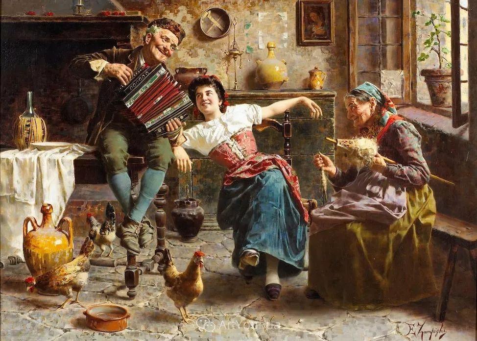 他把普通人的生活,画得如此欢乐、温馨、幸福,意大利画家Eugenio Zampighi插图23