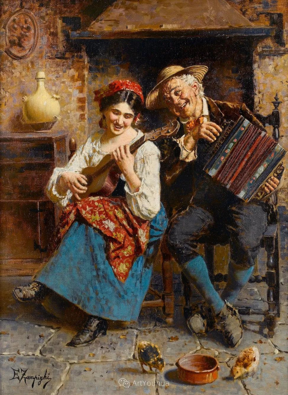 他把普通人的生活,画得如此欢乐、温馨、幸福,意大利画家Eugenio Zampighi插图24