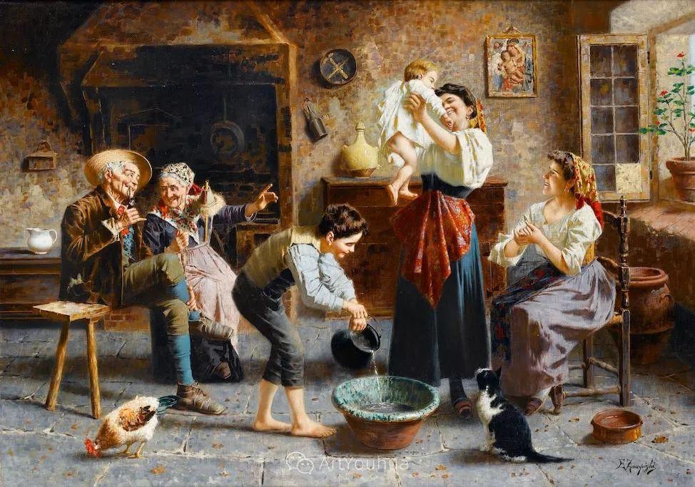 他把普通人的生活,画得如此欢乐、温馨、幸福,意大利画家Eugenio Zampighi插图25
