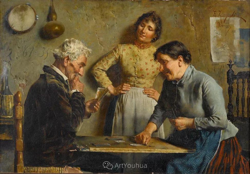 他把普通人的生活,画得如此欢乐、温馨、幸福,意大利画家Eugenio Zampighi插图26