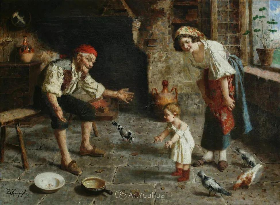 他把普通人的生活,画得如此欢乐、温馨、幸福,意大利画家Eugenio Zampighi插图27