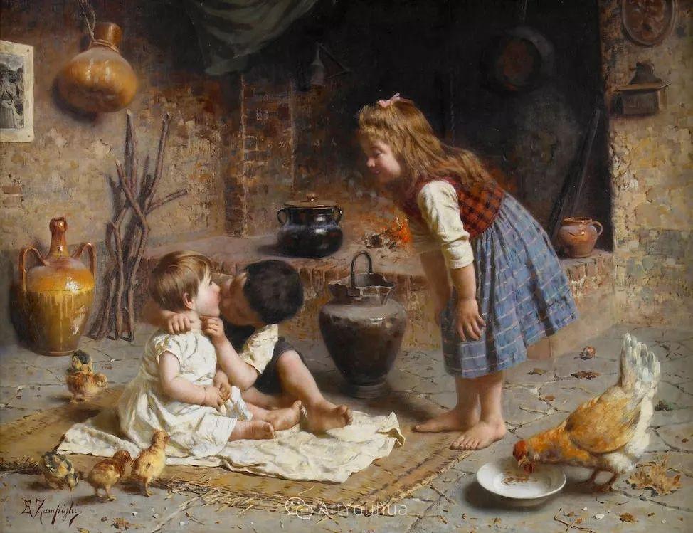他把普通人的生活,画得如此欢乐、温馨、幸福,意大利画家Eugenio Zampighi插图28