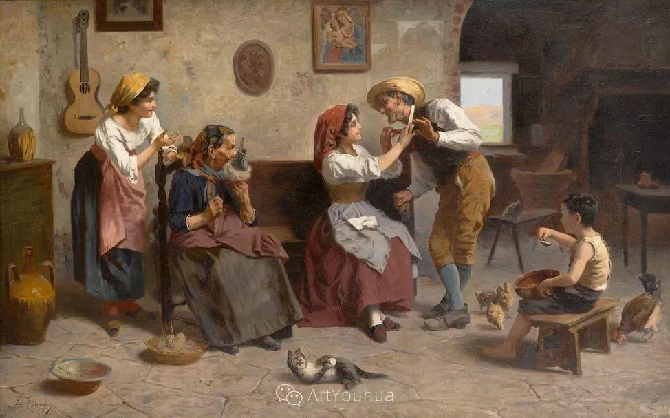 他把普通人的生活,画得如此欢乐、温馨、幸福,意大利画家Eugenio Zampighi插图29