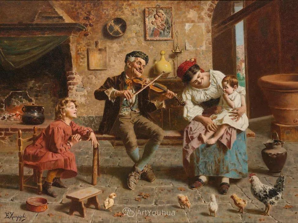 他把普通人的生活,画得如此欢乐、温馨、幸福,意大利画家Eugenio Zampighi插图30