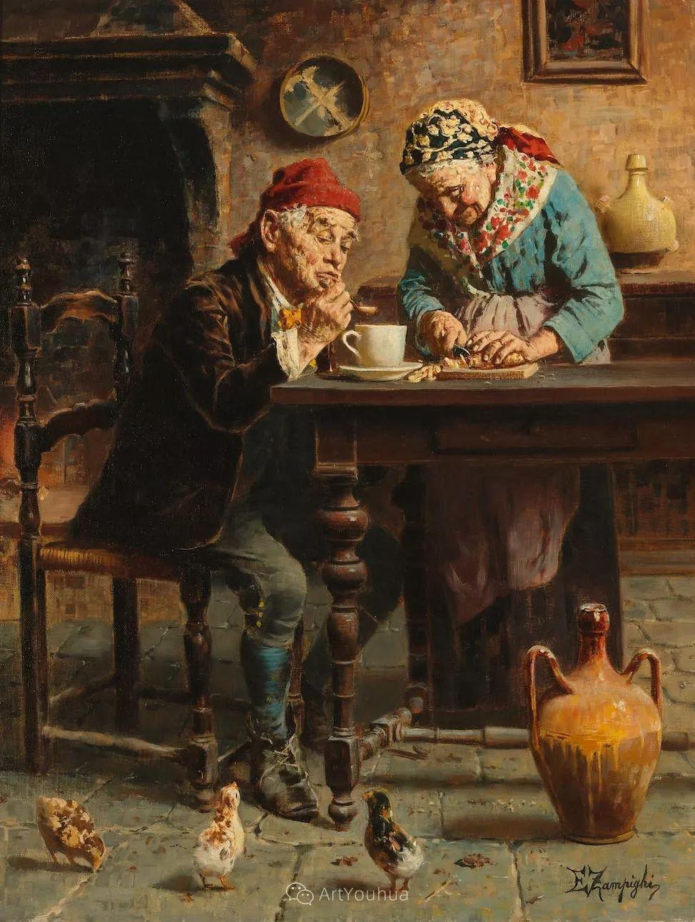 他把普通人的生活,画得如此欢乐、温馨、幸福,意大利画家Eugenio Zampighi插图31
