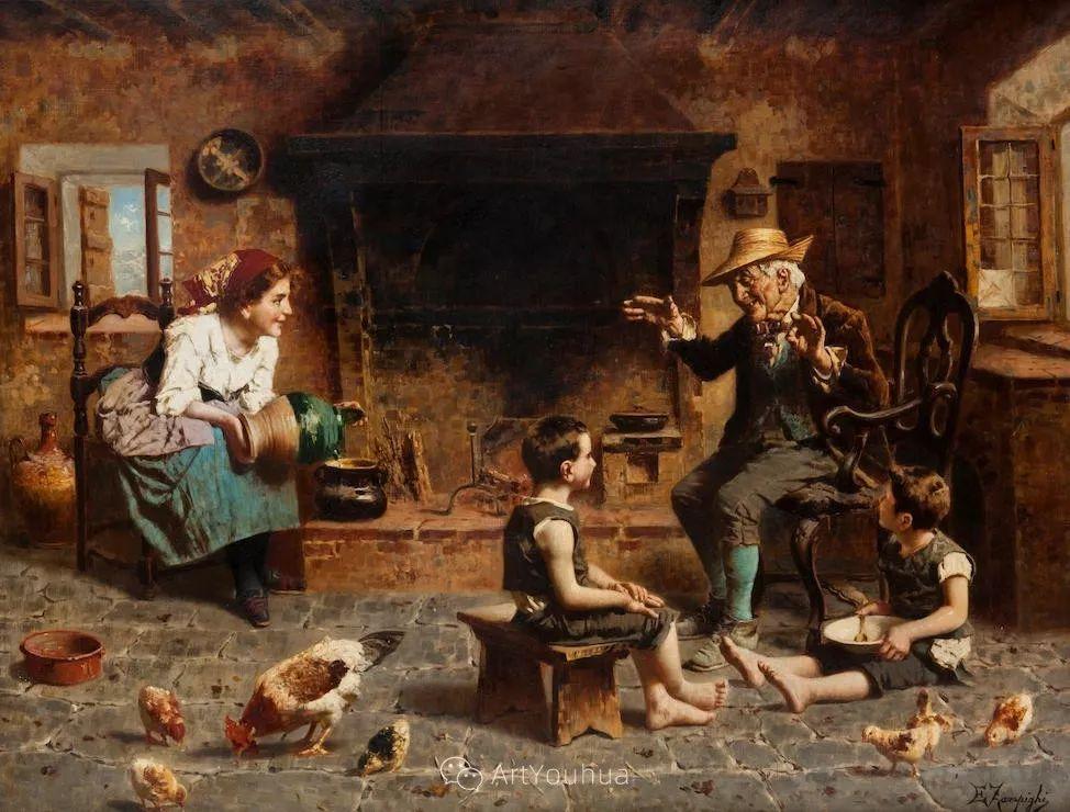 他把普通人的生活,画得如此欢乐、温馨、幸福,意大利画家Eugenio Zampighi插图32