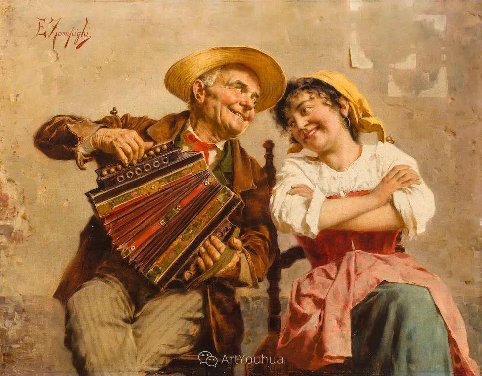 他把普通人的生活,画得如此欢乐、温馨、幸福,意大利画家Eugenio Zampighi插图34