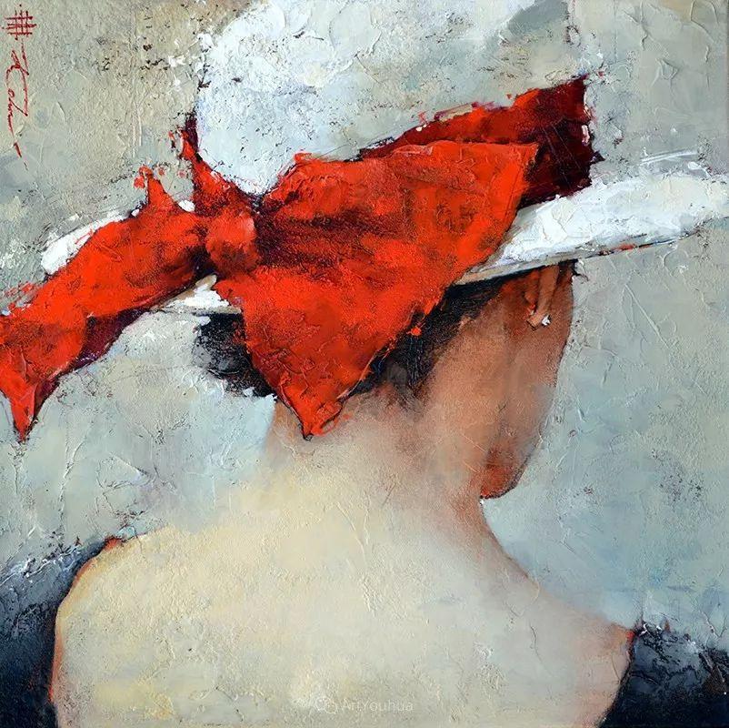 具象绘画中戴帽子的女子,韵味十足,俄罗斯画家Andre Kohn插图