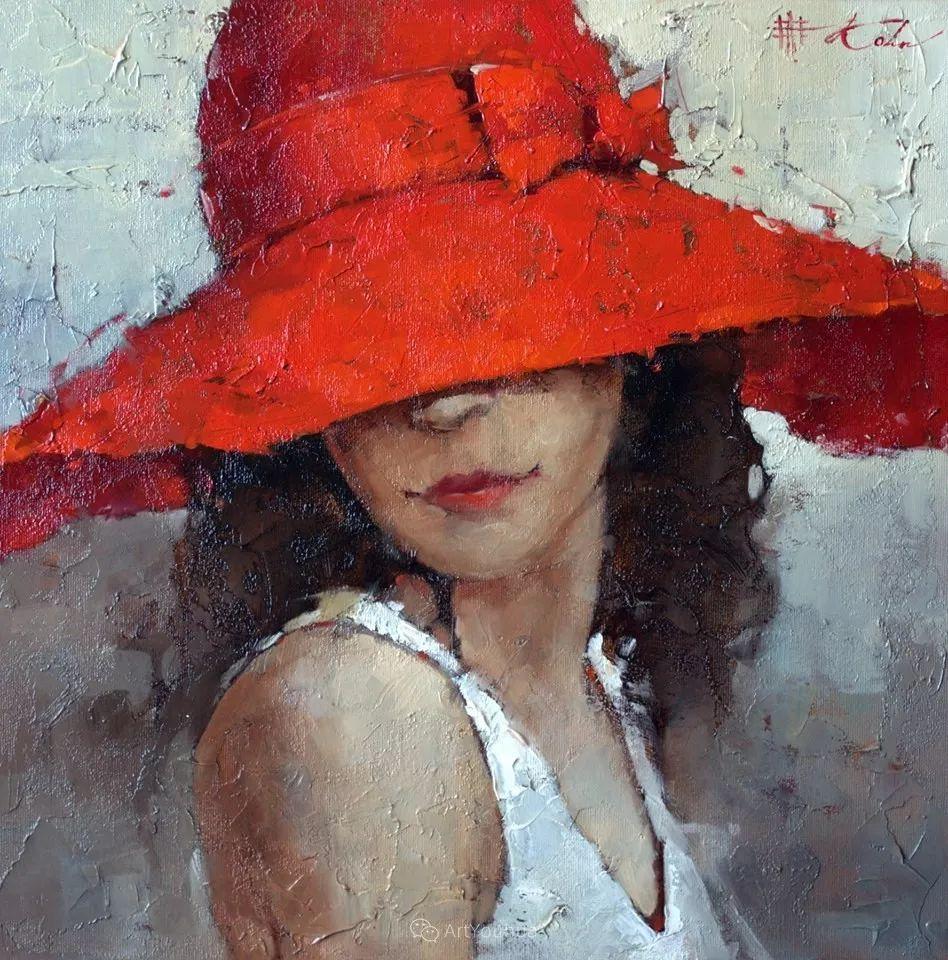 具象绘画中戴帽子的女子,韵味十足,俄罗斯画家Andre Kohn插图1