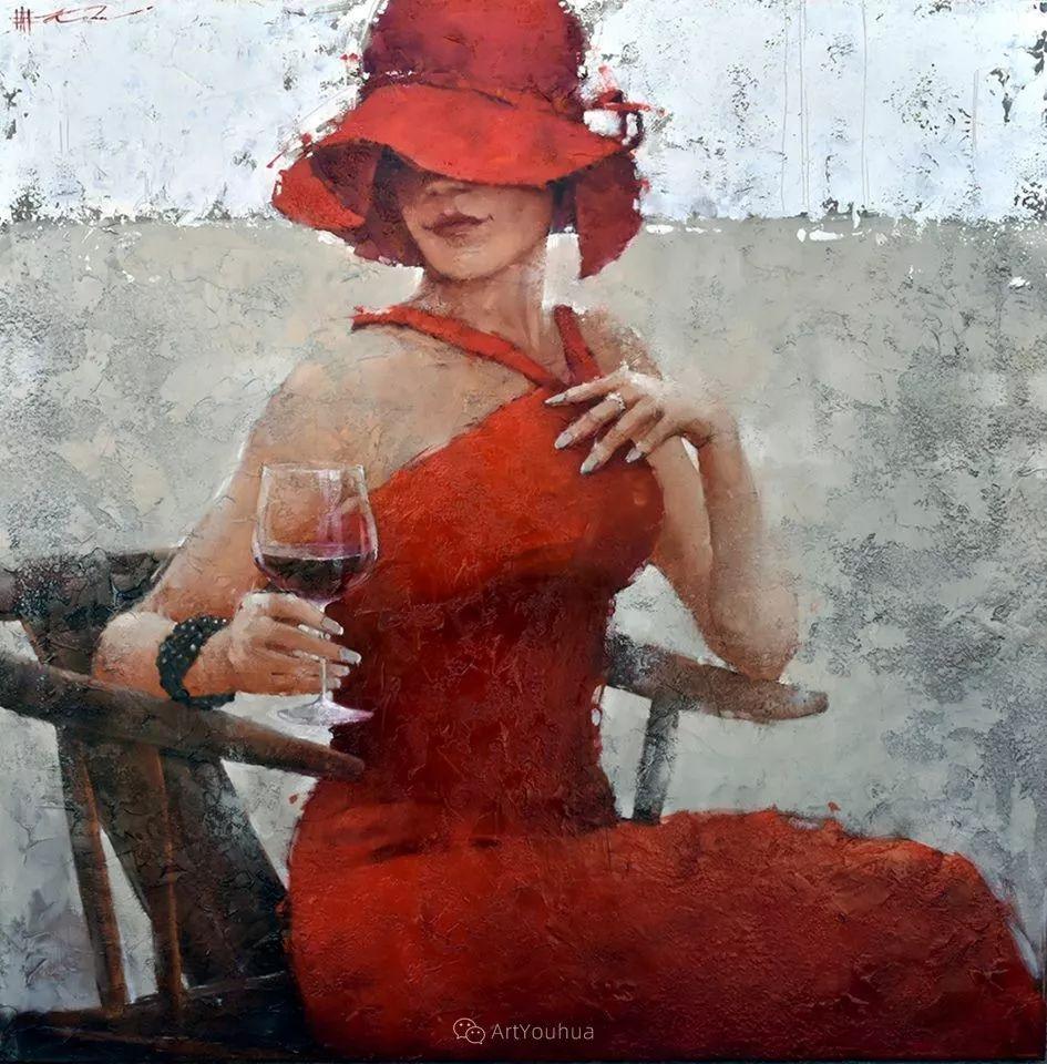 具象绘画中戴帽子的女子,韵味十足,俄罗斯画家Andre Kohn插图5