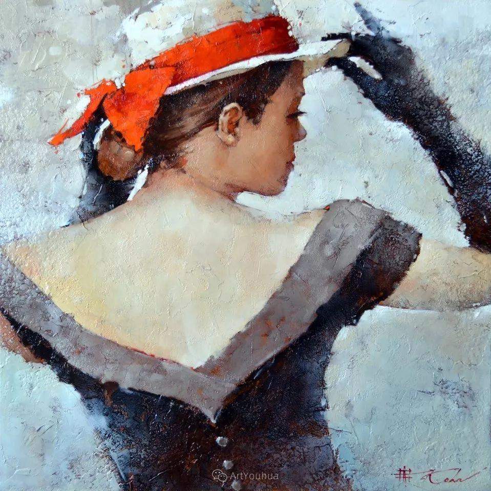具象绘画中戴帽子的女子,韵味十足,俄罗斯画家Andre Kohn插图6