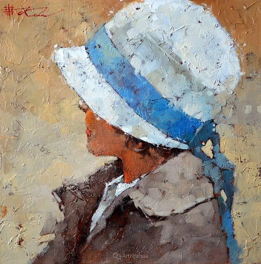 具象绘画中戴帽子的女子,韵味十足,俄罗斯画家Andre Kohn插图7