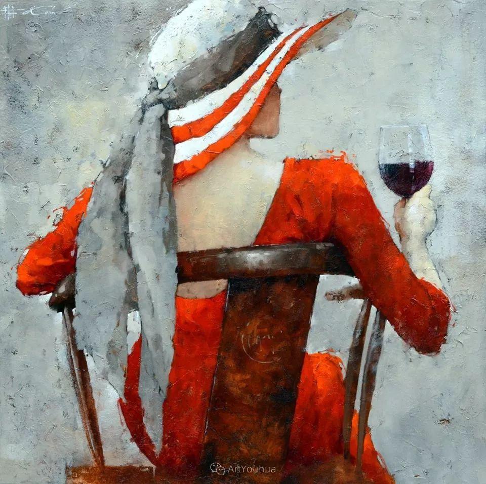 具象绘画中戴帽子的女子,韵味十足,俄罗斯画家Andre Kohn插图9