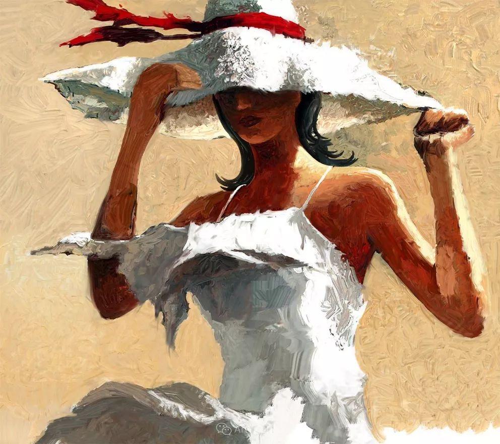 具象绘画中戴帽子的女子,韵味十足,俄罗斯画家Andre Kohn插图11