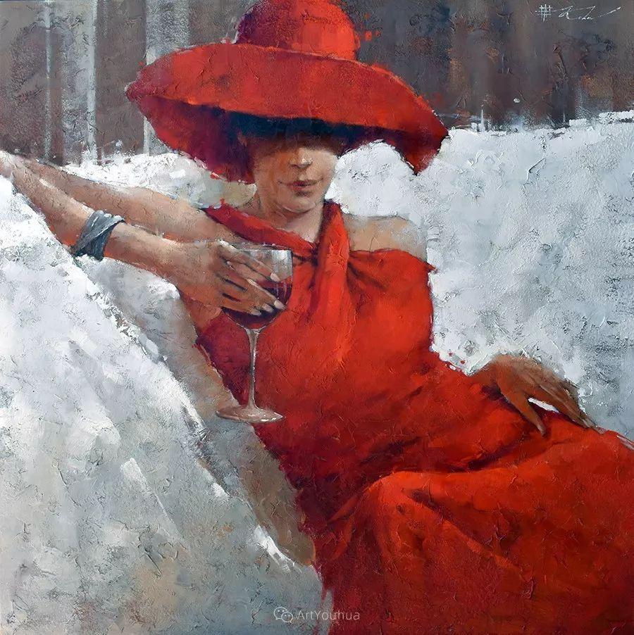 具象绘画中戴帽子的女子,韵味十足,俄罗斯画家Andre Kohn插图12