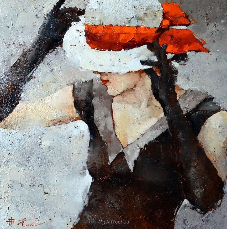 具象绘画中戴帽子的女子,韵味十足,俄罗斯画家Andre Kohn插图14