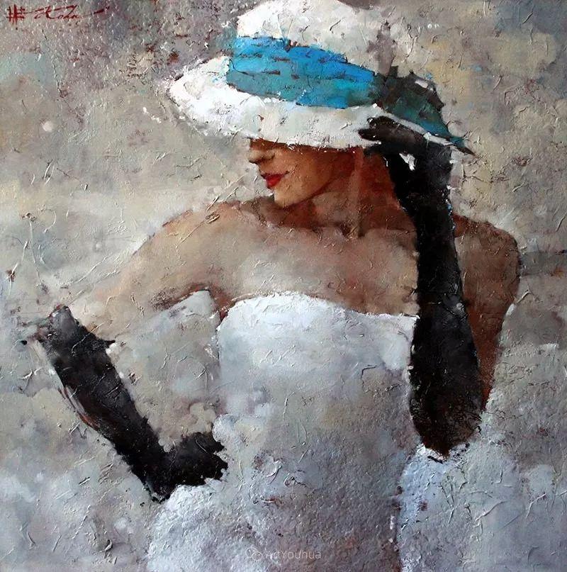 具象绘画中戴帽子的女子,韵味十足,俄罗斯画家Andre Kohn插图15