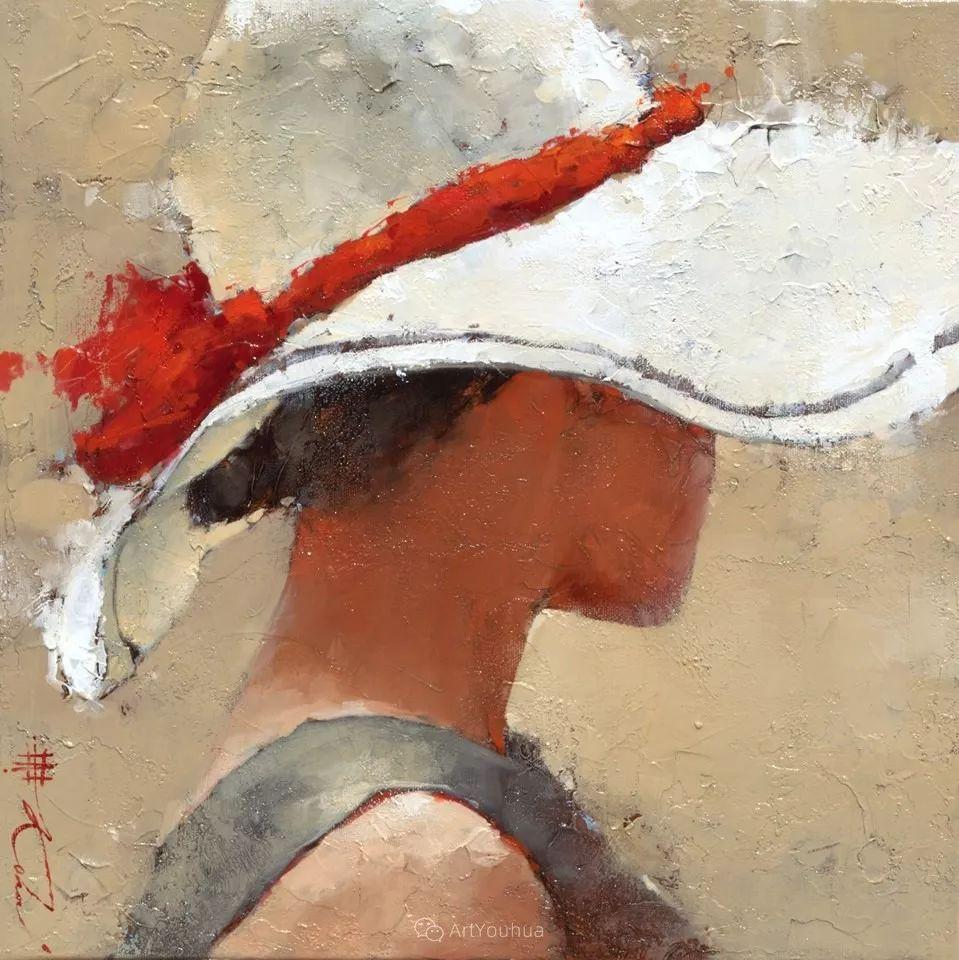 具象绘画中戴帽子的女子,韵味十足,俄罗斯画家Andre Kohn插图16
