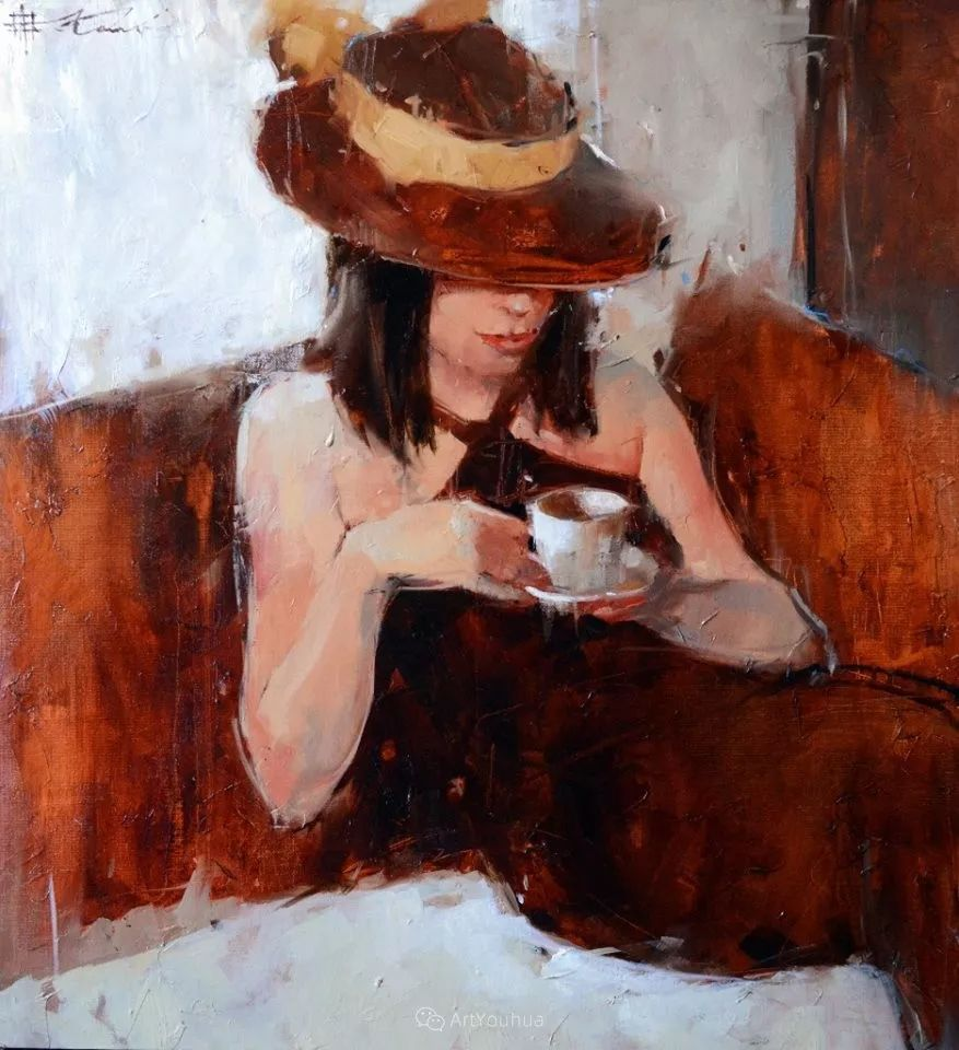 具象绘画中戴帽子的女子,韵味十足,俄罗斯画家Andre Kohn插图17