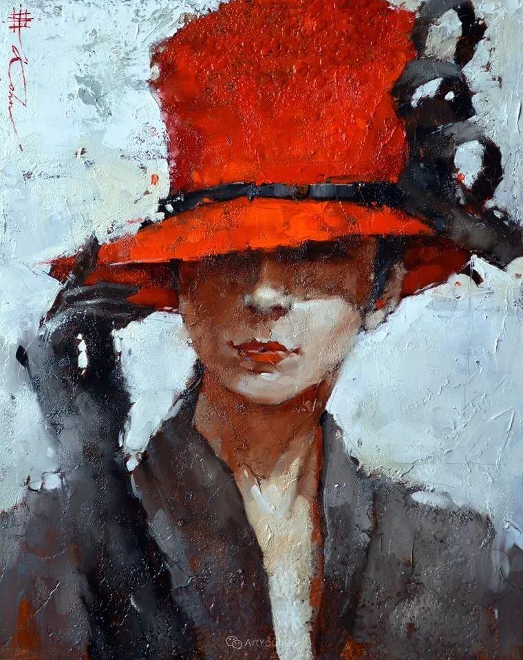 具象绘画中戴帽子的女子,韵味十足,俄罗斯画家Andre Kohn插图21