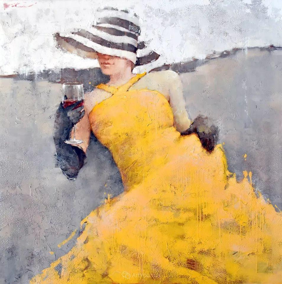 具象绘画中戴帽子的女子,韵味十足,俄罗斯画家Andre Kohn插图22