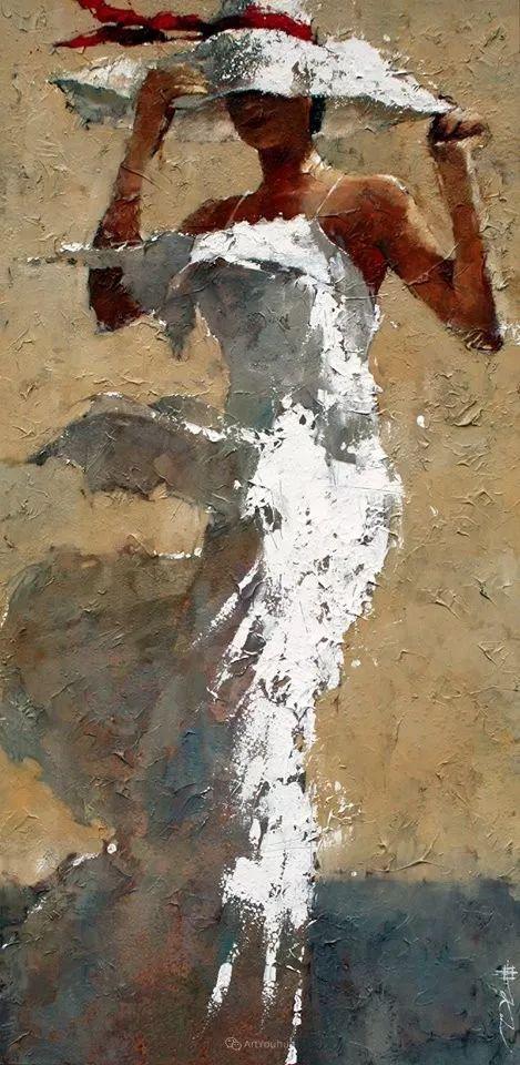 具象绘画中戴帽子的女子,韵味十足,俄罗斯画家Andre Kohn插图23