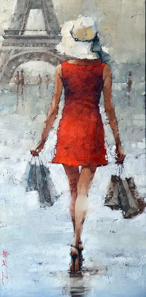 具象绘画中戴帽子的女子,韵味十足,俄罗斯画家Andre Kohn插图24