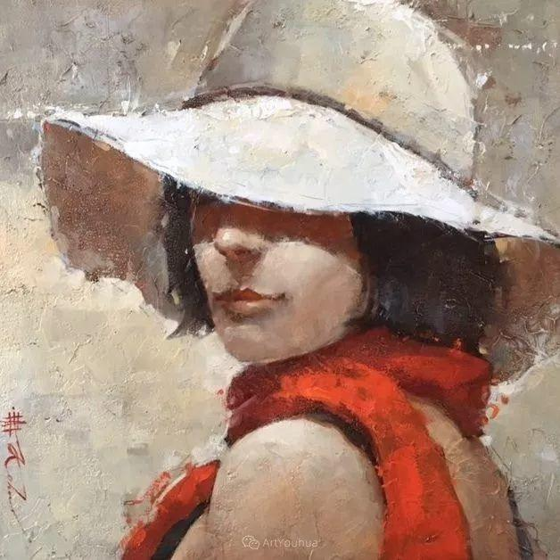具象绘画中戴帽子的女子,韵味十足,俄罗斯画家Andre Kohn插图25