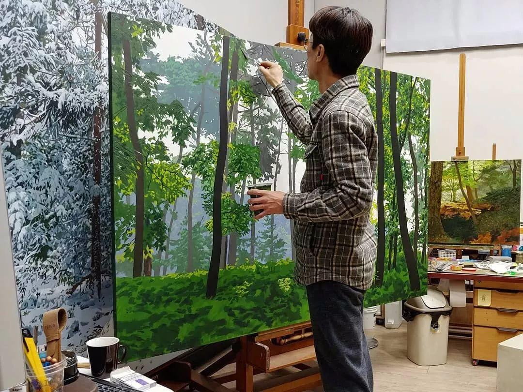他沉迷于画树林,超逼真,看了让人身临其境!插图11