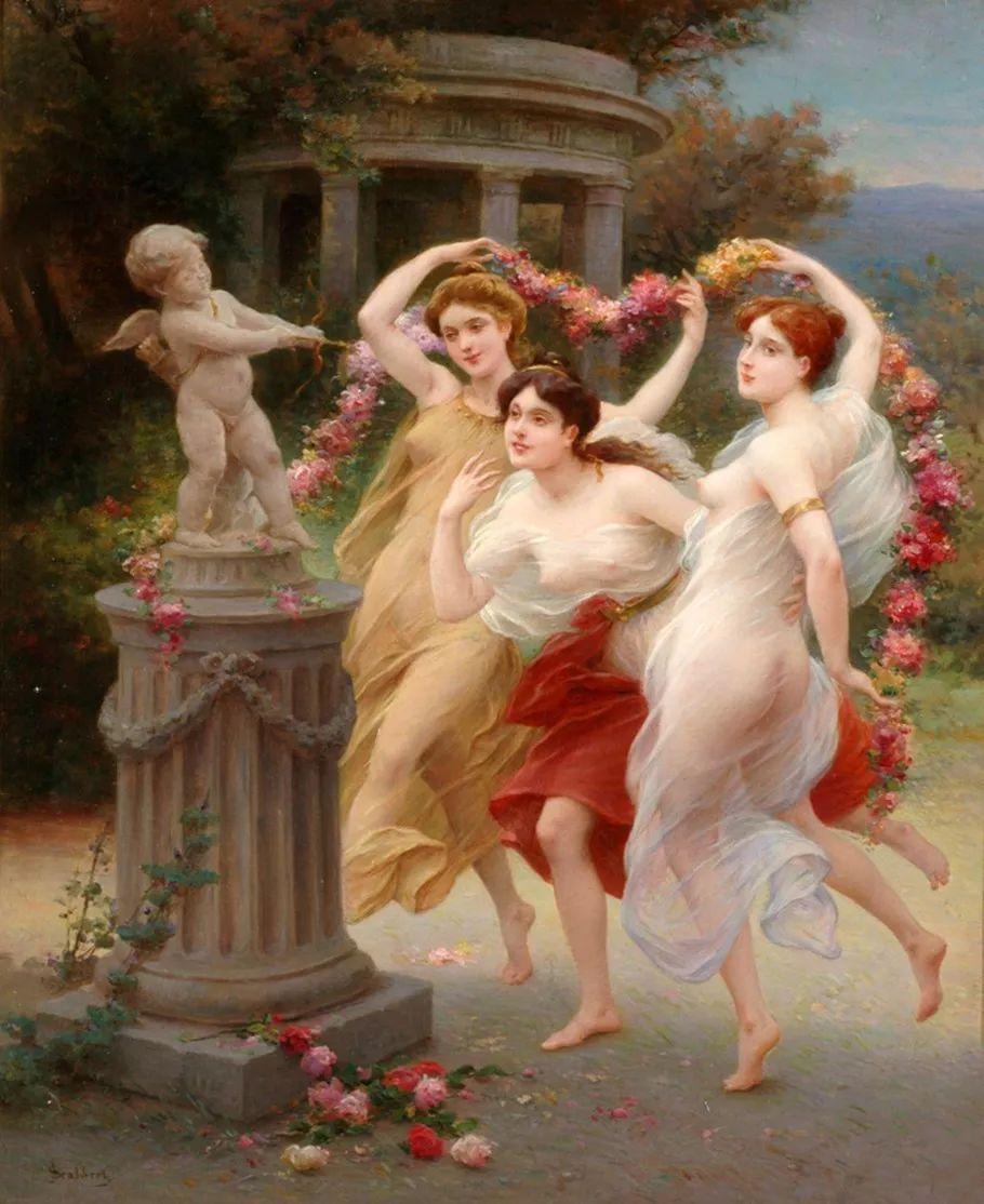 法国画家油画中的仙女,身披薄纱,性感迷人!插图