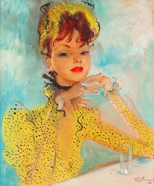 他画中的美女:典雅美丽天鹅颈,脸上带着调情趣味插图5
