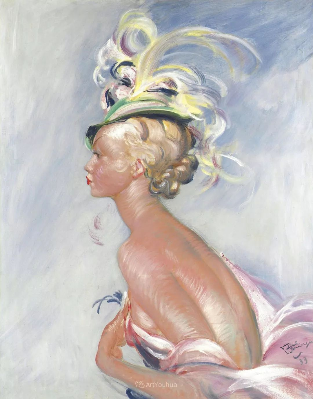 他画中的美女:典雅美丽天鹅颈,脸上带着调情趣味插图23