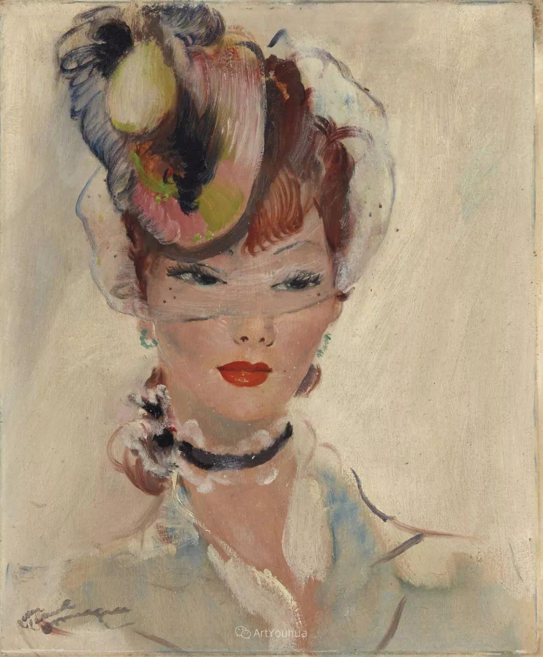他画中的美女:典雅美丽天鹅颈,脸上带着调情趣味插图35