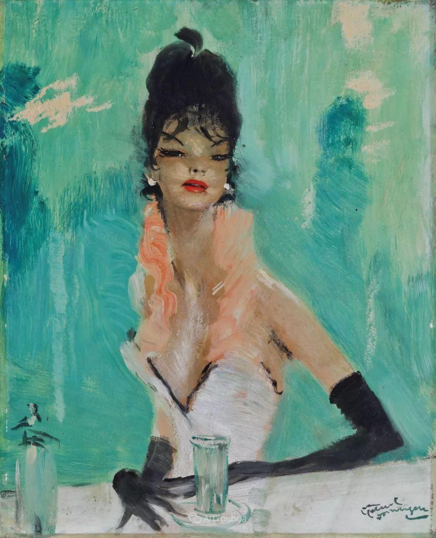 他画中的美女:典雅美丽天鹅颈,脸上带着调情趣味插图39